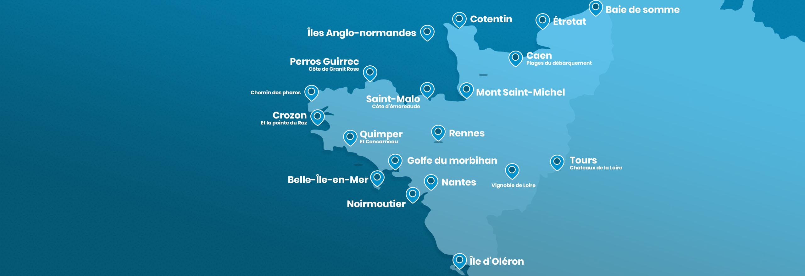 Carte ouest de la France